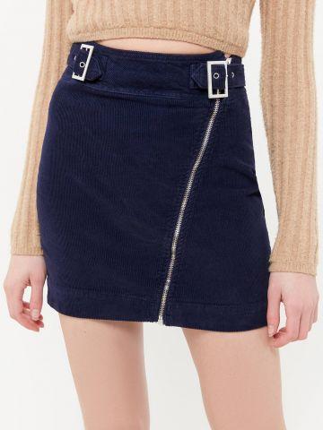 חצאית קורדורוי מיני עם רוכסן אלכסוני UO