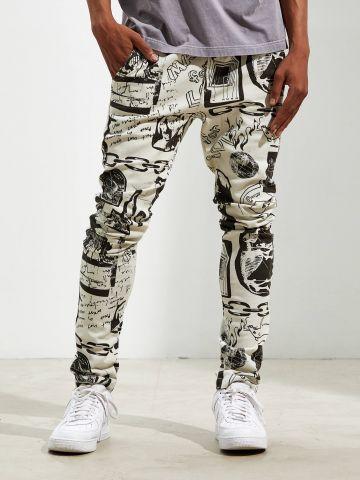 מכנסי סקיני בהדפס איורי מונוכרום UO