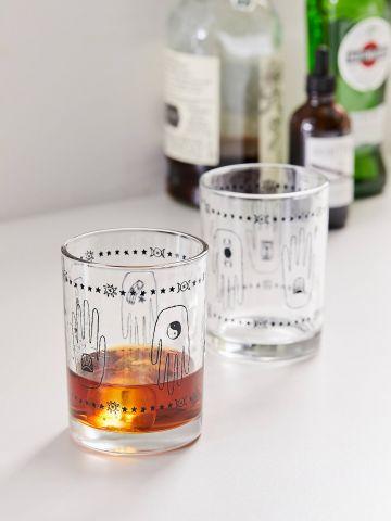 מארז 2 כוסות זכוכית עם הדפס ידיים UO