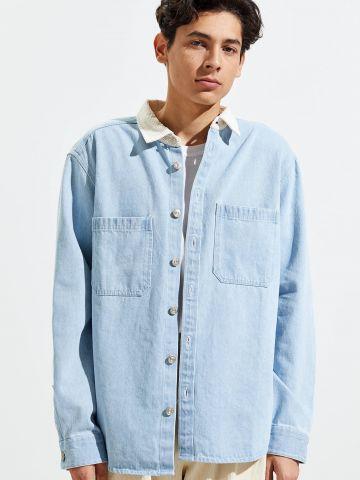 חולצת ג'ינס מכופתרת בשטיפה בהירה BDG