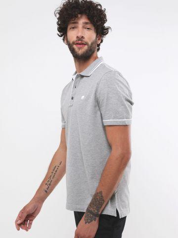 חולצת פולו שני צבעים עם לוגו