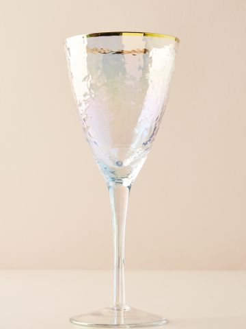 כוס יין מזכוכית עם שפה מוזהבת