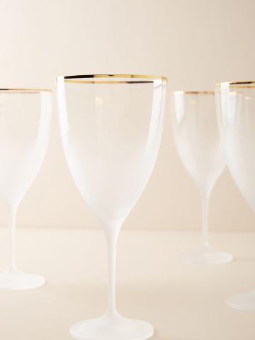 מארז 4 כוסות יין מקריסטל עם שפה מוזהבת