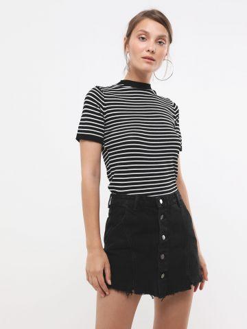 מכנסי חצאית ג'ינס עם כפתורים של YANGA