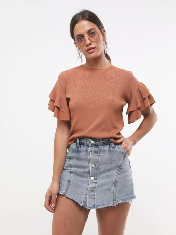 מכנסי חצאית ג'ינס עם כפתורים