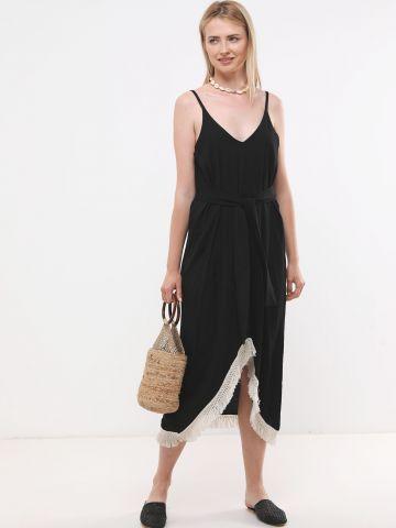 שמלת מקסי אסימטרית עם פרנזים