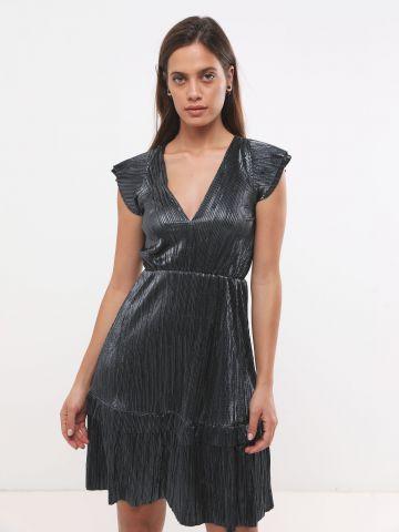 שמלת מיני פליסה בגימור מטאלי X שושיין של YANGA