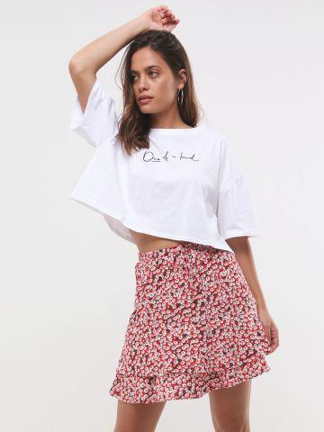 חצאית מיני קומות בהדפס פרחים