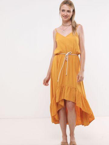 שמלת מקסי עם סיומת אסימטרית