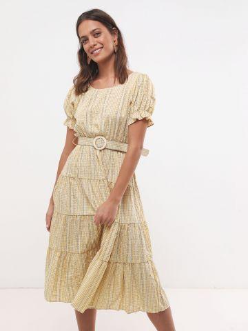 שמלת מידי בהדפס משבצות עם חגורה