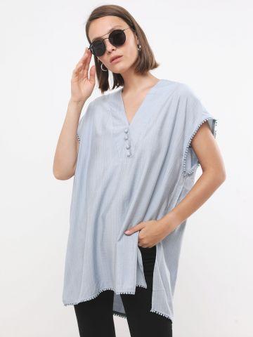 חולצת טוניקה עם עיטורי גדילים