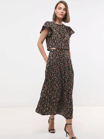 חצאית מקסי בהדפס פרחים מטאלי SABINA MUSAYEV