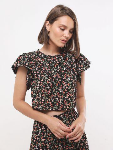 חולצת קרופ בהדפס פרחים עם גדילים SABINA MUSAYEV