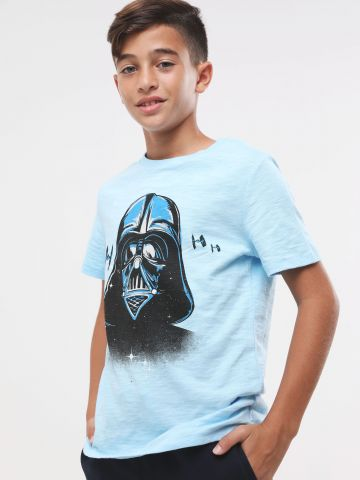 חולצת טי שירט מלאנז' עם הדפס Star Wars בחזית ומאחור