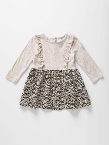 שמלה עם חצאית בהדפס מנומר ועיטורי מלמלה / 12M-5Y