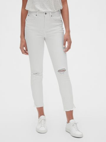 ג'ינס סקיני קרופ עם קרעים
