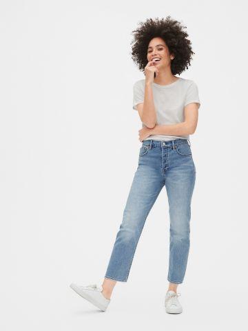 ג'ינס קרופ בגזרה ישרה עם סיומת פרומה