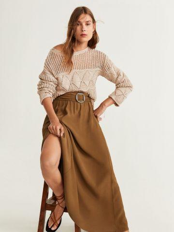 חצאית מקסי עם אבזם עגול במותן