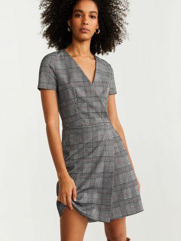 שמלת מעטפת בהדפס משבצות