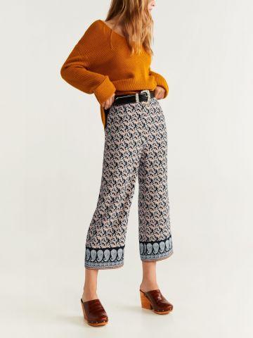 מכנסי קרופ מתרחבים בהדפס פייזלי