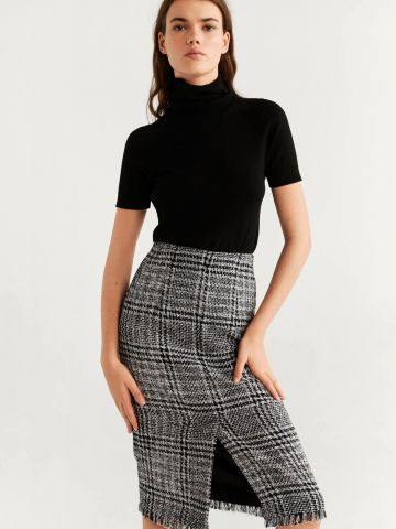 חצאית מידי טוויד עם שסע וסיומת פרומה