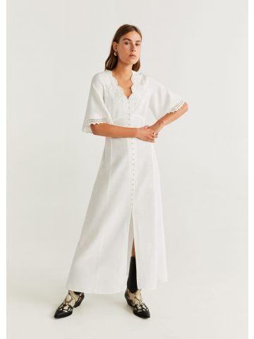 שמלת מקסי עם עיטורי רקמה וגדילים