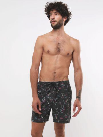 מכנסי בגד ים לוגו בהדפס איורי קיץ