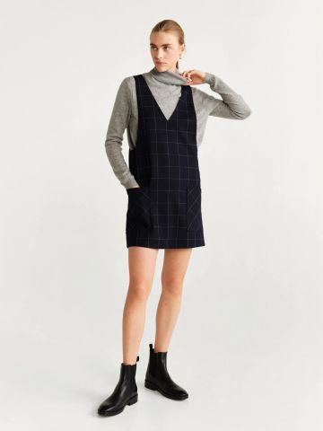 שמלת סרפן בהדפס משבצות עם כיסים