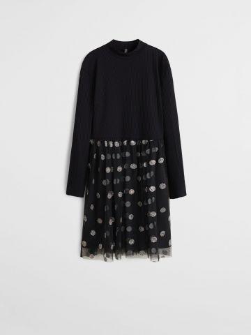 שמלת פפלום טול בשילוב נקודות מנצנצות / בנות