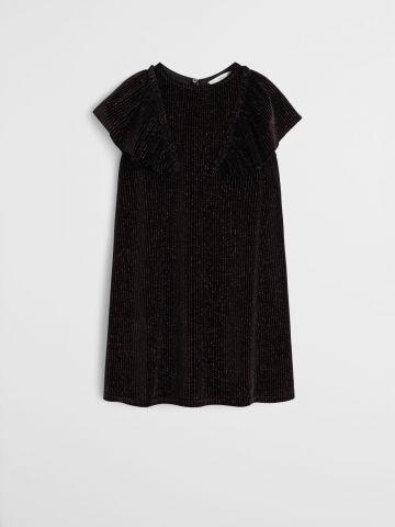 שמלת מיני קטיפה ולורקס עם שרוולי מלמלה / בנות