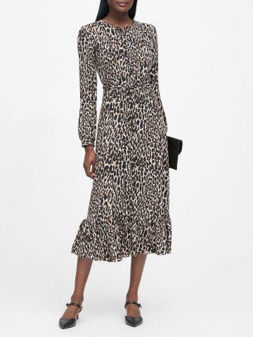 שמלת מידי בהדפס מנומר עם כפתורים