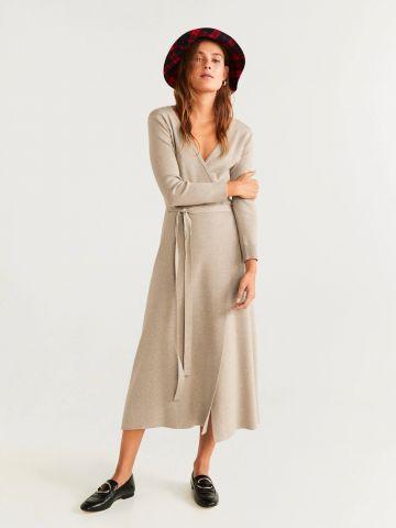 שמלת מעטפת מקסי עם חגורה