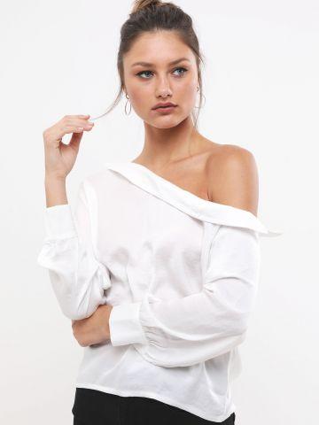 חולצת סאטן אוף שולדרס אסימטרית