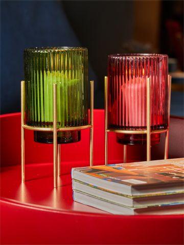 עששית צבעונית מזכוכית עם רגלי מתכת