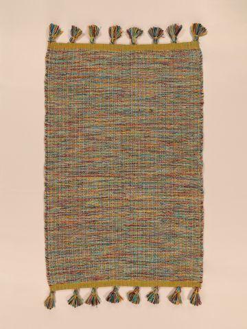 שטיחון ארוג מולטי קולור עם עיטור גדילים