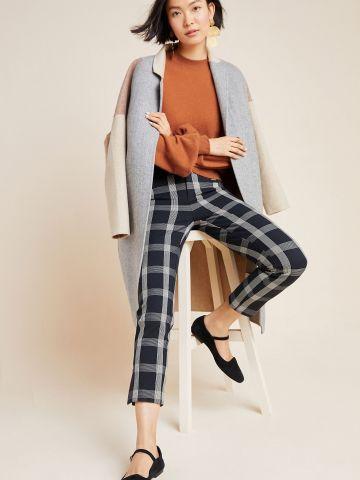 מכנסיים בהדפס משבצות Slim Fit