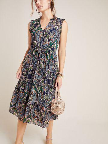 שמלת מידי קרפ בהדפס פייזלי
