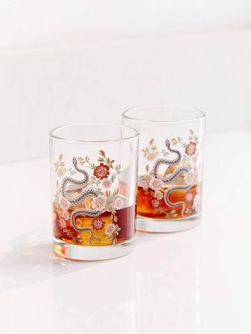 מארז 2 כוסות זכוכית עם הדפס פרחים ונחשים UO