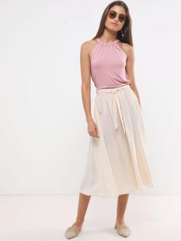 חצאית מידי עם חגורת קשירה של YANGA