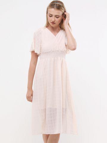 שמלת מידי קרפ עם גומי מותן