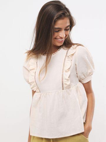 חולצת פפלום עם עיטורי רקמה בשילוב מלמלה