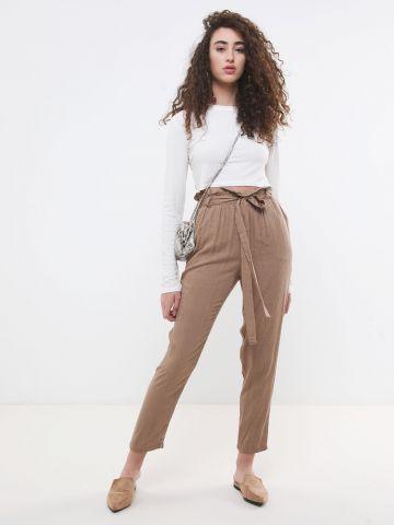 מכנסי פייפרבאג בדוגמת ג'קארד מנומר