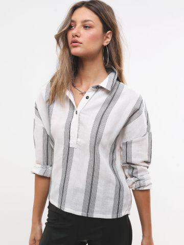חולצת פשתן בהדפס פסים
