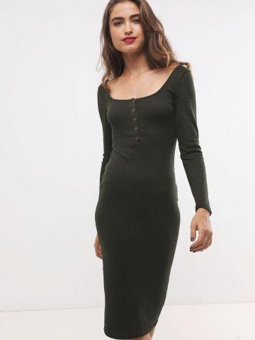 שמלת מידי ריב עם כפתורים