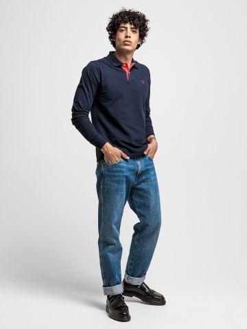 חולצת פולו שרוולים ארוכים עם רקמת לוגו / גברים