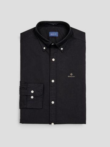 חולצת מכופתרת שרוולים ארוכים עם רקמת לוגו / גברים