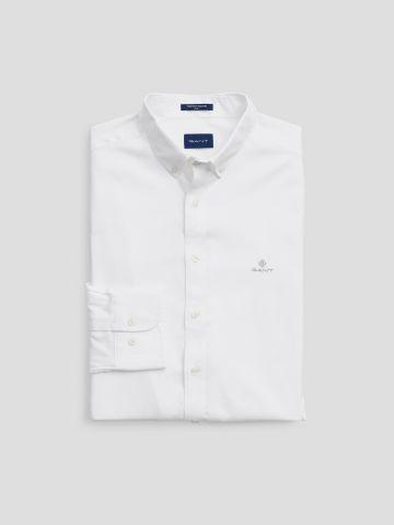 חולצה מכופתרת שרוולים ארוכים עם רקמת לוגו / גברים