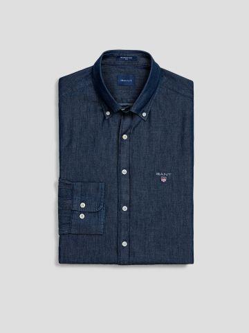 חולצת ג'ינס מכופתרת בשטיפה כהה Slim / גברים