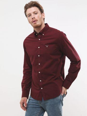 חולצה מכופתרת בגזרת Slim עם רקמת לוגו