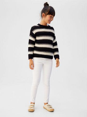 ג'ינס סלים-פיט בשטיפה בהירה / בנות